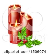 Sprig Of Holly And Lit Christmas Candles