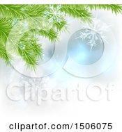 Clipart Of A Background Of Christmas Tree Branches And Snowflakes Royalty Free Vector Illustration by AtStockIllustration