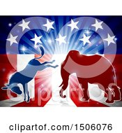 Clipart Of A Silhouetted Political Democratic Donkey And Republican Elephant Fighting Over An American Design And Burst Royalty Free Vector Illustration by AtStockIllustration