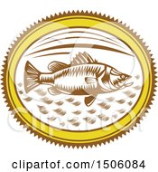 Clipart Of A Saltwater Barramundi Fish In An Oval Royalty Free Vector Illustration