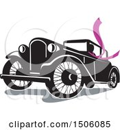 Clipart Of A Driver Wearing A Long Purple Scarf In A Vintage Coupe Automobile Royalty Free Vector Illustration