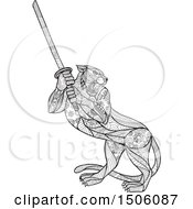 Clipart Of A Zentangle Styled Tiger Holding A Katana Sword Royalty Free Vector Illustration
