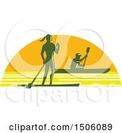 Clipart Of A Silhouetted Stand Up Paddler And Kayaker In A Sunset Half Circle Royalty Free Vector Illustration