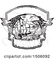 Clipart Of A Black And White Galleon Pirate Ship With A Wolf And Banners Royalty Free Vector Illustration