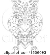 Clipart Of A Celtic Knotwork Styled Owl With Barley And Hops Royalty Free Vector Illustration by patrimonio