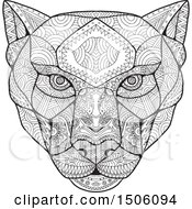 Panther Head In Black And White Zentangle Style