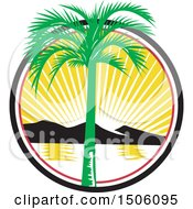 Clipart Of A Royal Palm Tree Over A Bay With Mountains At Sunset Royalty Free Vector Illustration by patrimonio