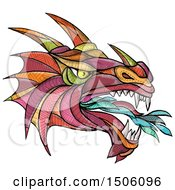Fire Breathing Dragon Head In Colorful Zentangle Style On A White Background