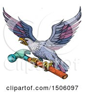 Clipart Of A Bald Eagle Flying With A Hammer In Colorful Sketched Style On A White Background Royalty Free Illustration