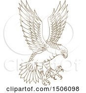 Clipart Of A Flying Osprey Swooping With Talons Ready To Grab Prey Royalty Free Vector Illustration