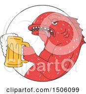 Sketched Coral Trout Fish Holding A Beer Mug In A Circle