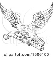 Clipart Of A Sketched Bald Eagle Flying With A Hammer Royalty Free Vector Illustration