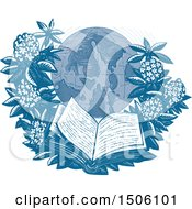 Clipart Of A Sketched Orcas Island Globe Framed With Rhododendrons And An Open Book Royalty Free Vector Illustration