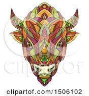 Bison Or American Buffalo Head In Colorful Mandala Zentangle Style On A White Background