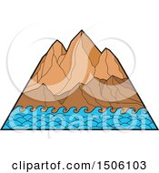 Clipart Of Mountain Peaks With Ocean Waves Royalty Free Vector Illustration by patrimonio