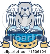 Clipart Of A Winged Angel Pit Bull Dog Over A Bay With Mountains And Five Star Banner Royalty Free Vector Illustration