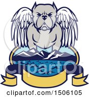 Clipart Of A Winged Angel Pit Bull Dog Over A Bay With Mountains And Banner Royalty Free Vector Illustration by patrimonio