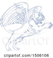 Clipart Of A Sketched Winged Pit Bull Dog Royalty Free Vector Illustration