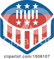 Clipart Of A Red White And Blue American Football With Stars And Stripes Royalty Free Vector Illustration by patrimonio