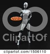 Poster, Art Print Of 3d Feminine Robot Holding A Pizza On A Black Background