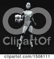 3d Feminine Robot Holding A Tooth On A Black Background