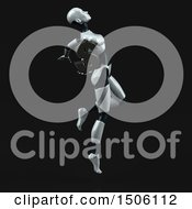 3d Feminine Robot Holding A Dollar Sign On A Black Background
