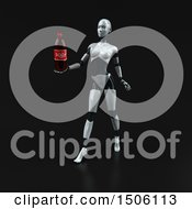3d Feminine Robot Holding A Soda On A Black Background