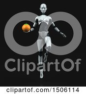 3d Feminine Robot Holding An Orange On A Black Background