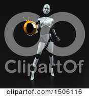 3d Feminine Robot Holding A Tv On A Black Background