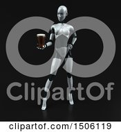 3d Feminine Robot Holding A Beer On A Black Background