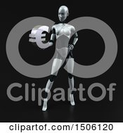 3d Feminine Robot Holding A Euro On A Black Background
