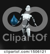 Poster, Art Print Of 3d Feminine Robot Holding A Water Drop On A Black Background