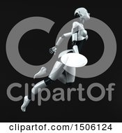 3d Feminine Robot Holding A Plate On A Black Background
