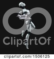Poster, Art Print Of 3d Feminine Robot Holding A Plane On A Black Background
