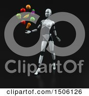 3d Feminine Robot Holding Produce On A Black Background