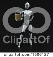 3d Feminine Robot Holding A Padlock On A Black Background