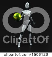 3d Feminine Robot Holding A Globe On A Black Background