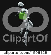 Poster, Art Print Of 3d Feminine Robot Holding A Gas Can On A Black Background