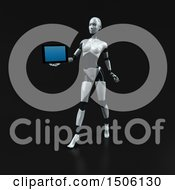 Poster, Art Print Of 3d Feminine Robot Holding A Tablet On A Black Background