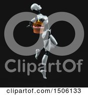 Poster, Art Print Of 3d Feminine Robot Holding A Cupcake On A Black Background