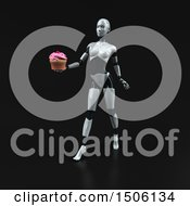 3d Feminine Robot Holding A Cupcake On A Black Background