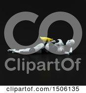3d Feminine Robot Holding A Banana On A Black Background