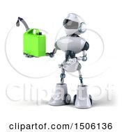 3d Blue And White Robot Holding A Gas Can On A White Background