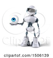 3d Blue And White Robot Holding An Eyeball On A White Background