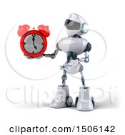 3d Blue And White Robot Holding An Alarm Clock On A White Background