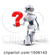 3d Blue And White Robot Holding A Question Mark On A White Background