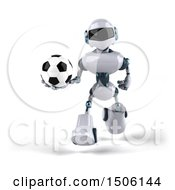 3d Blue And White Robot Holding A Soccer Ball On A White Background