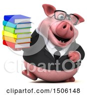 Poster, Art Print Of 3d Chubby Business Pig Holding Books On A White Background