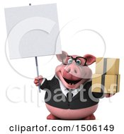 Poster, Art Print Of 3d Chubby Business Pig Holding Boxes On A White Background