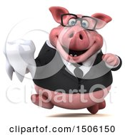 Poster, Art Print Of 3d Chubby Business Pig Holding A Tooth On A White Background